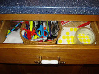 Before - junk drawer - couldn't even open the drawer all the way