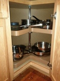 Storing Pots And Pans In Lazy Susan Corner Cabinet