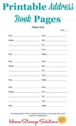 Printable Address Book Pages