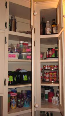Re-orgainzed corner cabinets