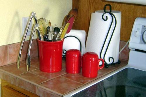 red Fiesta utensil crock