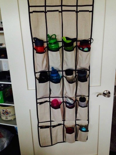 water bottle storage using an over the door shoe organizer