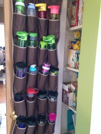 water bottle storage using an over the door shoe rack