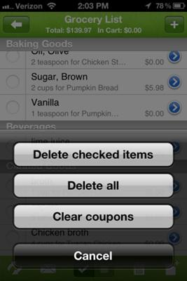 shopping list features